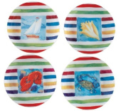 Ocean Waters Lobster Blue Crab Sailboat Conch Shell Cocktail Plate Set