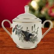 Lenox Winter Greetings Gold Banded Ivory China Sugar Bowl