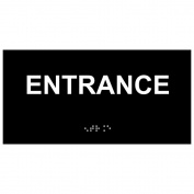 ComplianceSigns Acrylic ADA Braille Enter Sign, 20cm x 10cm . Black