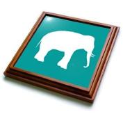 trv_164913_1 InspirationzStore Vintage Art - White elephant silhouette. Teal turquoise aqua blue wildlife animal - Trivets - 8x8 Trivet with 6x6 ceramic tile
