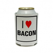 I Love Heart Bacon Can Cooler - Drink Insulator - Beverage Insulated Holder
