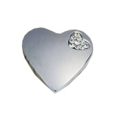 Set of 3 Beautiful Silver Heart & Crystal Drawer Handles/Pulls/Knobs