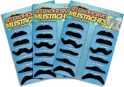 36 Pack Fake Moustache Moustaches Novelty & Toy 36pk - Black By Allures & Illusions
