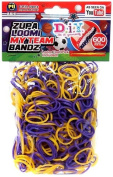 D.I.Y. Do it Yourself Bracelet Zupa Loomi My Team Bandz 600 YELLOW & PURPLE Rubber Bands with Hook Tool & 'S' Clips