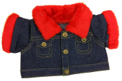 Denim Jacket with Red Fur Trim Fits Most 36cm - 46cm Build-a-bear, Vermont Teddy Bears, and Make Your Own Stuffed Animals