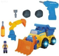WolVol 3-in-1 Construction Bulldozer Dump Excavator Take-A-Part Truck Toy with Drill and Tools, Lights and Music (Battery Operated), Bump and Go Action, will go by its own and change directions on contact