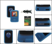 iShoppingdeals - Blue Soft Skin Case + Screen Protector + Smart Cord Wrap for Sandisk Sansa Clip Zip 4GB 8GB MP3 Player