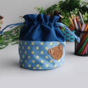 [Bear-Skyblue] Blancho Applique Kids Fabric Art Bucket Bag/Bento Lunch Box/Shopper Bag