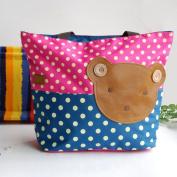 [Bear-Rosered] Blancho Applique Kids Fabric Art Tote Bag/Shopper Bag-Big Size