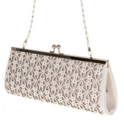 Ladies White Evening Bag Clutch Shoulder Wedding Occasion Textured Cut outs