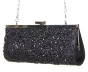 Ladies Satin Evening Bag Clutch Shoulder Wedding Occasion Textured Sequinned