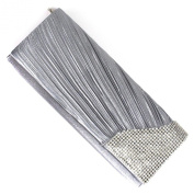 Silver Pleated Satin and Crystal Foldover Clutch Bag