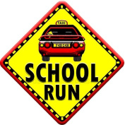 SCHOOL RUN (like baby on board sign) Non Personalised novelty baby on board car window sign.