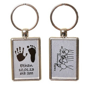 Hand or Foot Print Keyring with Child's Artwork on Reverse - Brushed Steel