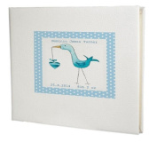 baby record book,baby memory book,baby Boy Guest Book,Blue Stork