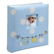 baby photo album blue white spots and a washing line print