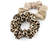 2 x Brown Tone Jersey Hair Scrunchies/ Elastics/ Bobbles - Plain & Animal Print