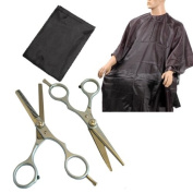 Set of 2 Hairdresser's Professional Hair Cutting and Thinning Scissors & Free Cape