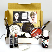 Halloween Make-up Treat Box - Perfect for your Skeleton or Zombie Look - Face Paints, Fake Blood, Black and Red Lipsticks, Pencils, Brushes and Applicators - By Moreton Gifts
