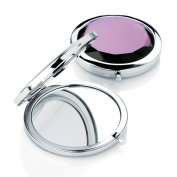 Divadoo Silver and Transparent Purple Crystal Colour Compact Mirror