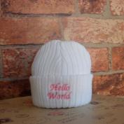 Newborn Baby Hello World Design Knitted Hat