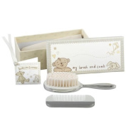 Button Corner Silver Plated Brush & Comb Gift Set - Great for Christening Gift!