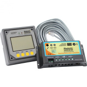 20A dual battery solar charge controller / regulator with a remote LCD display and cable for 12/24V batteries