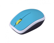 Kinobo - USB 2.0 Wireless Mouse 2.4GhZ With Silent Click and Nano Receiver - Ideal for Laptop - Blue & White