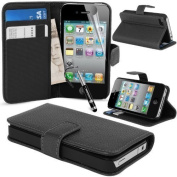 MadCase® Premium Apple iPhone 4s / 4 PU Leather Credit Card Wallet Case Cover with Screen Protector & Stylus Pen - Black