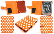 Emartbuy New Kindle Polka Dots Orange / White Case Cover Pouch + Screen Protector for New Amazon Kindle 4, All - New Latest Generation 2011 Release Amazon Kindle 15cm inch Wi-Fi