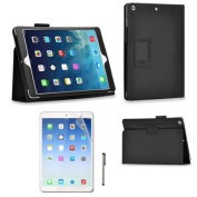 High Quality New Apple iPad 4, iPad 3 & iPad 2 Premium Folio Black PU Leather Case / Cover / Wallet and Flip Stand With Built-in Magnet For Sleep / Wake Feature + 1 Included Screen Protectors and Stylus for New Apple iPad 4th Generation (With Retina Di ..