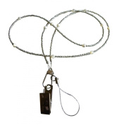 ShoreThing UK Classy Silver and Mother of Pearl Beaded Bead Lanyard many uses : 70cm - 80cm. Silver/Cream/White