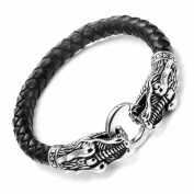 Leather Mens Bracelet with Locking Stainless Steel Dragon Head Clasp, Black Silver 21.5cm
