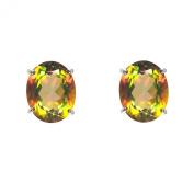 Ivy Gems Sterling Silver Mystic Golden Topaz Oval Cut Stud Earrings