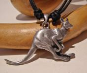 Pewter Kangaroo Pendant on cord necklace, Australia