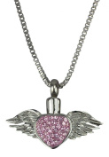 Winged Heart Urn Pendant - Memorial Ash Keepsake - Cremation Jewellery