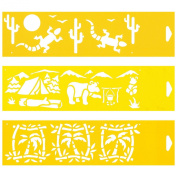 Set of 3 - 30cm x 8cm Reusable Flexible Plastic Stencils for Cake Design Decorating Wall Home Furniture Fabric Canvas Decorations Airbrush Drawing Drafting Template - Desert Animals Camping Camp site Palm Trees