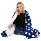 Navy / White Stars Fleece Blanket Soft Sherpa Home Warm Sofa Bed Throw 150x200cm