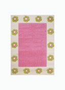 """Little Helper IVI Exclusive Hypo-Allergenic Large, Thick Pile & High Quality 3D Embossed Rug """"Flowerpatch"""" design, Pink"""