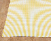 Homescapes - 100% Cotton Gingham Cheque Rug - Hand Woven Yellow White - 70 x 120 cm - Washable at Home - Kids Room or Large Bath Mat