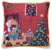 "Christmas Tapestry Style Festive Xmas Cushion Cover, 43 x 43cm (17"" x 17""), Fireplace and Tree"