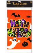 "PLASTIC HALLOWEEN TABLECLOTH - SCREAM MACHINE - ""HAPPY HALLOWEEN"""