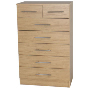 Devoted2Home Humber Bedroom Furniture with Chest of 5 Plus 2 Drawers, Wood, Oak Brown, 35.20 x 66.8 x 107.2 cm