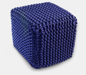 Homescapes Green Knitted Pouffe Footstool Bean Filled 100% Cotton for Living Room Children or the Elderly