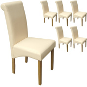 Set of 6 Faux Leather Scroll Top Dining Chairs Cream With Padded Seat & Oak Finish Legs