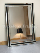 Fiona Black Glass Framed Rectangle Bevelled Wall Mirror 90cm x 60cm Large
