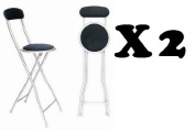 2 X NEW QUALITY FOLDING BLACK BAR STOOL CHAIR FOR PARTIES OFFICE HOME BREAKFAST STOOL