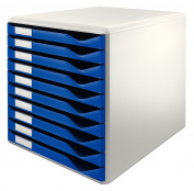 Leitz Form Set Filing Unit with 10 Drawers A4 (W x D x H) 291 x 352 x 291 mm - Blue and Grey