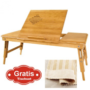 Also Suitable For Left-handed, 100% Bamboo Foldable Laptop Table, Folding Bed Table, Lengthen Size, FBT04-L-N + A placemat Free!