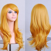 Womens/Ladies 70cm Yellow Colour Long CURLY Cosplay/Costume/Anime/Party/Bangs Full Sexy Wig